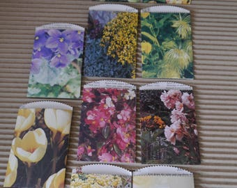 "25 x small paper bags garden flowers upcycled 4.1/2""x 3"" favor treat merchandise bags,"