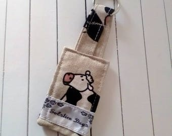 Keyring, Cows keyring handmade from linen fabric, fabric keyring, gift for her