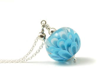 Blue Necklace | Sky Blue Pendant | Glass Flower Lampwork Jewellery | Flameworked Glass Necklace Sterling Silver | Petal Collection UK