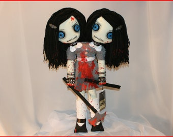 OOAK Hand Stitched Siamese Twin Rag Doll Creepy Gothic Horror Folk Art By Jodi Cain Tattered Rags