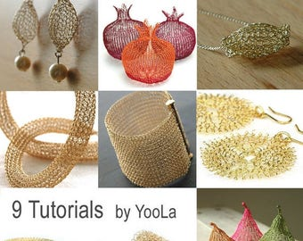 On SALE 20% - 9 Wire Crochet Patterns how to crochet wire jewelry PDF patterns crochet wire work yoola tutorials ebook jewelry instructions