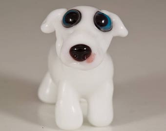 White Great Dane Lampwork Dog Bead