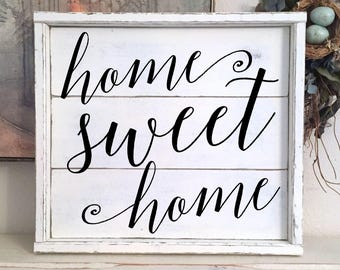 HOME SWEET HOME   Family Sign   Farmhouse Sign   Shiplap Style Sign   17 x 15