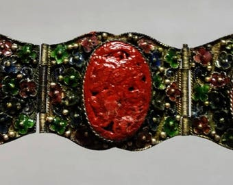 Vintage Chinese Export Bracelet of Carved Cinnabar and Enameled Flowers in Silver - Art Deco