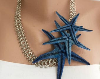 Handmade Navy Blue Starfish Necklace, Nautical Weddings ,Beach Brides ,