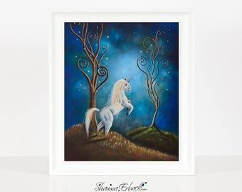 Twilight - Unicorn Art Print - Whimsical Artwork - White Horse - Fantasy Art - Matte - Signed - Enchanting Unicorns - Art For Bedroom - 8x10