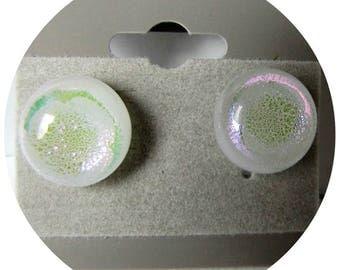 White Dichroic Earrings, Post Earrings,  Fused Glass Earrings, Sterling Silver Posts, accessories, Item #1218