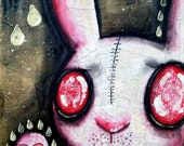 Do You Even Notice? - one of kind original, outsider, bunnies, rain, pink, narrative, expressionism, alone, life, 8x10