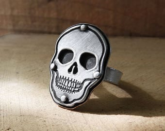 Sterling silver skull ring, skull jewelry, human skull ring, biker jewelry, realistic skull, girlfriend gift, gift for him