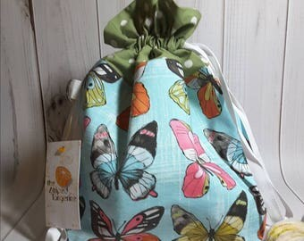 Butterfly Drawstring Project Bag- Medium- Knitting- Crochet- Needlearts- Crafting- Artist