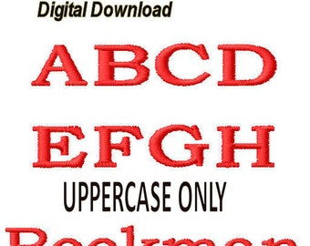 "Bookman Embroidery Font 4"" - 1 Size - pes files, Uppercase FILL Stitch"