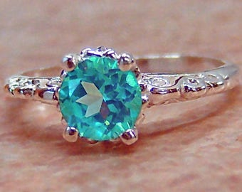 Paraiba Blue Topaz, Sterling Silver Filigree Ring, Cavalier Creations