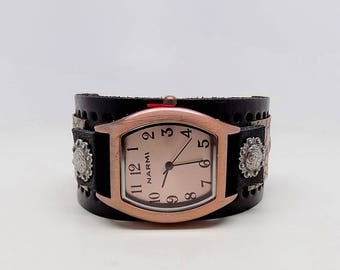 Women watch. leather cuff watch.cuff watch.wrist watch.