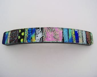 Medium Dichroic glass hair barrette.