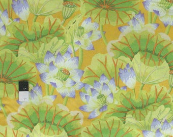 Kaffe Fassett GP93 Lake Blossoms Yellow Cotton Quilting Fabric By The Yard