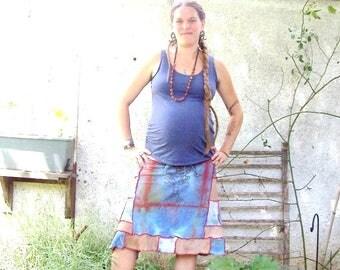 ROOTS - Handprinted Tree -  Ecofriendly Gypsy Traveler ~ Patchwork Hippie Spinners Tie Dye Adjustable Drawstring LOVE Skirt