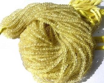 50% Off Sale AAA Lemon quartz micro faceted rondelles 14 inch strand 3.5mm