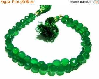 50% Off Sale Full 8 Inches Finest Quality Green Onyx Faceted Onion Briolettes W/ 52 Pcs, Size 7 - 7.5mm Approx Great Quality, Wholesale Pric