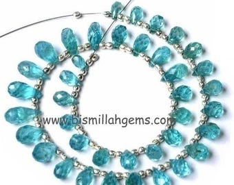 50% Off Sale 8 inches - Caribbean Waters Apatite Faceted Drop Briolettes Size 6x4 to 11x5mm approx.