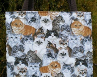 Cat Cats Tote Bag Realistic Tabby Siamese Kitty Kitten Handmade Purse Limited