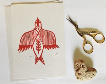 Rising bird. Linocut card.