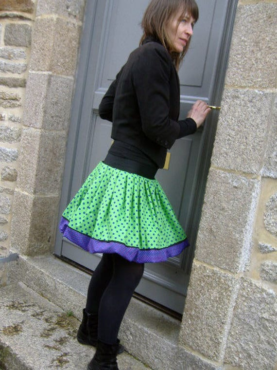 Ball design with blue polka dots skirt and Apple green. Pleated balloon skirt. Skirt woman original