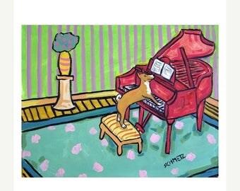 20 % off storewide Basenji Playing the Piano Dog Art Print