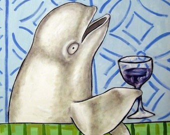 20 % off storewide Beluga Whale at the Wine Bar Art Tile Coaster