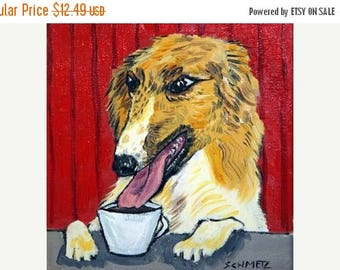 20% off Borzoi at the Coffee Shop Dog Art Tile Coaster Gift