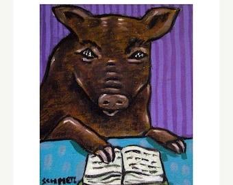 20% off Pig Reading Animal Art Print