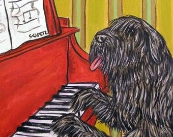 20% off Bouvier Des Flandres Playing Piano Dog Art Tile
