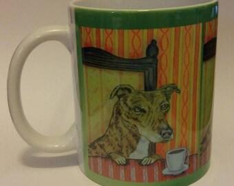 20% off greyhound at the coffee shop cafe dog art mug cup 11 oz dog art mug cup 11 oz gift