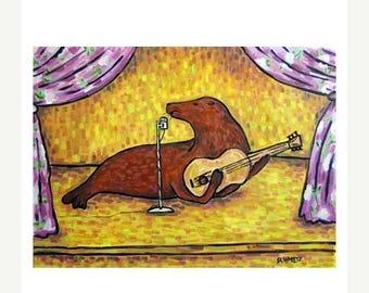 Sea lion Singer Songwriter Art Print
