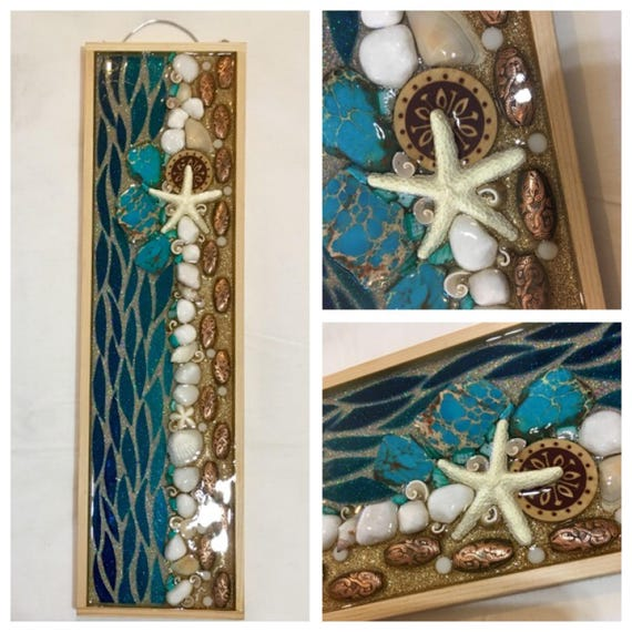 """5"""" x 18"""" Stained Glass Resin Wall Art Mixed Media ocean """"Ocean Discovery"""""""