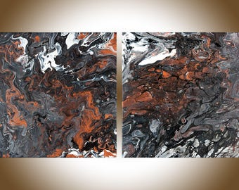 """Painting Copper art copper home decor copper wall art Set of painting original artwork home office decor Fluid art """"Stream"""" by qiqigallery"""
