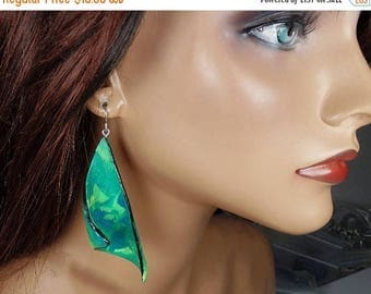 ON SALE Polymer clay dangle earrings, marbled blue, green, yellow