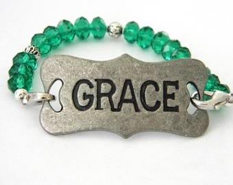 Grace Bracelet Teal Glass and Metal Bracelet