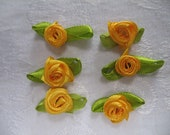 Set of 6 Bright Yellow Colored Rose Sew-On Glue-On Ribbon Applique