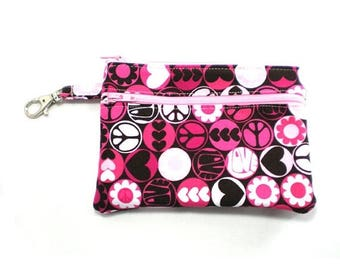 Summer Clearance Larger Zippered Wallet Change Purse Gadget Case  Pink and Brown Peace Love and Flower Power