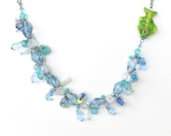 HALF PRICE SALE Green and blue beaded cluster fish necklace Last One