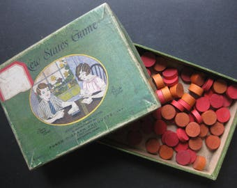 Gorgeous Antique Game Box filled with 76 Red Wooden Game Pieces
