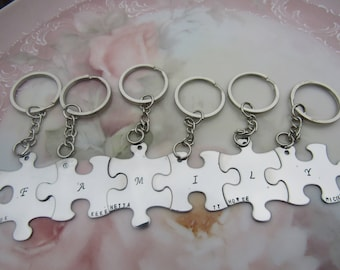 Family puzzle pieces Interlocking Keychain set choice of 2, 3, 4, 5, or 6 puzzle pieces Gifts for family members or friends