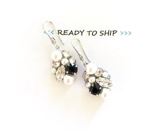 RTS white pearl and black Rhinestone Cluster Wedding Earrings, Swarovski Bridal Jewelry, handmade Bridal Earrings, black bridal earrings