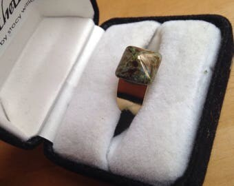 Upcycled 1940's Czechoslovakian Iridescent Bronze Pyramid Gold Ring