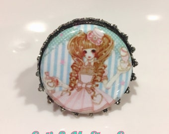 Sweet Lolita Girl Pastel Pink and Blue Round Button Silver Toned Ring