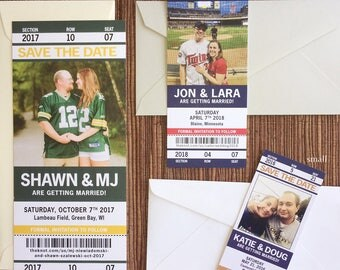 Sport Ticket Wedding Save the Date or Invitation / football / baseball / hockey / soccer