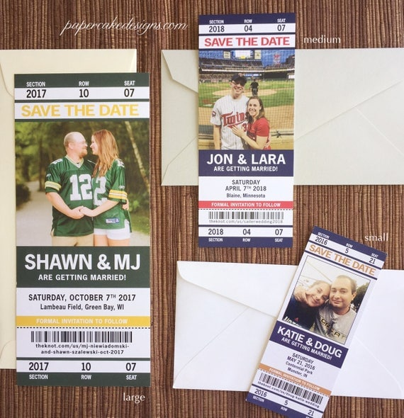 Sport Ticket Wedding Save the Date or Invitation / football