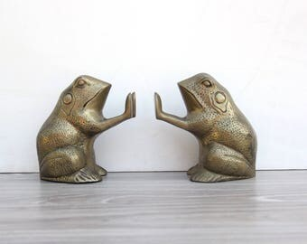Solid Brass Frog Bookends