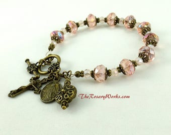 Vintage Style Miraculous Medal Rosary Bracelet Chaplet Pink Crystals Holy Spirit St Benedict Bronze Bali Style Prayer Beads Single Decade