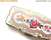 OnSale Stratton Pill Box - Tongs Three Sectioned Floral Design White Gold Pink